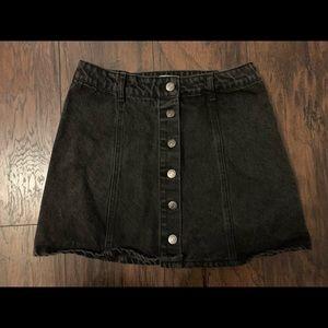 Vintage button up black denim skirt